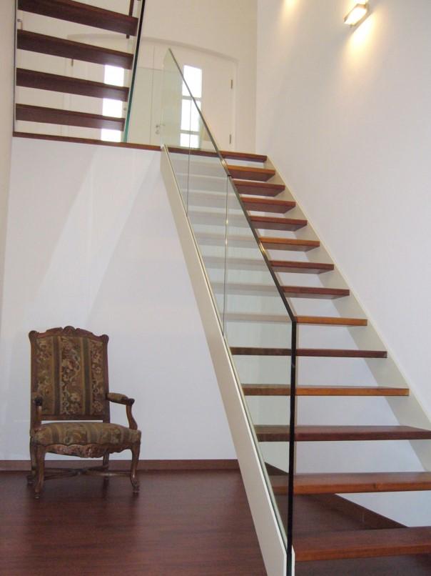 Stikla margu projekts kāpnēm iekštelpās, alumīnija profili + stikls 12,76 mm